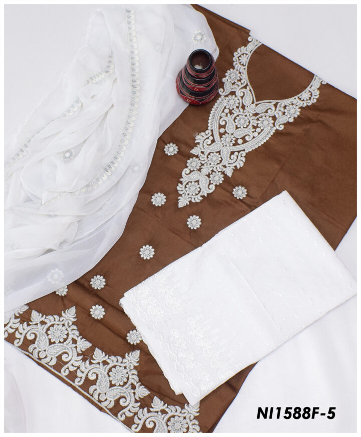 3 Pc Lawn Machine Embroidered Suits With Chiffon Dupatta And Chikan Shalwar NI1588F5