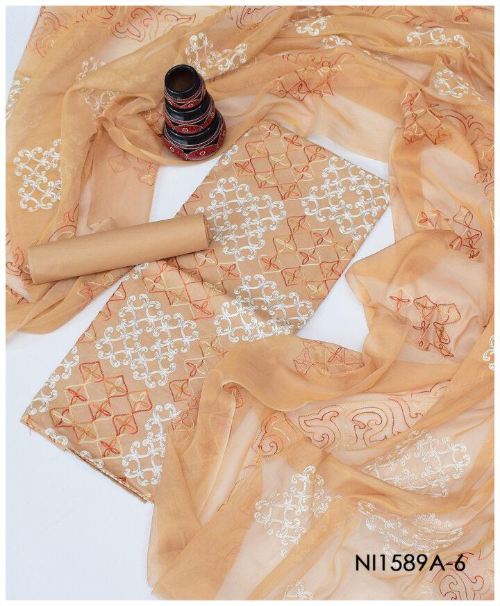 3 PC Supreme Lawn Machine Embroidery Suits With Masoori Dupattas - NI1589A6