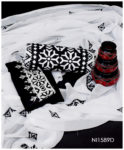 3 PC Lawn Black and White Computer Applique Work Suit With Chiffon Dupatta - NI1589D