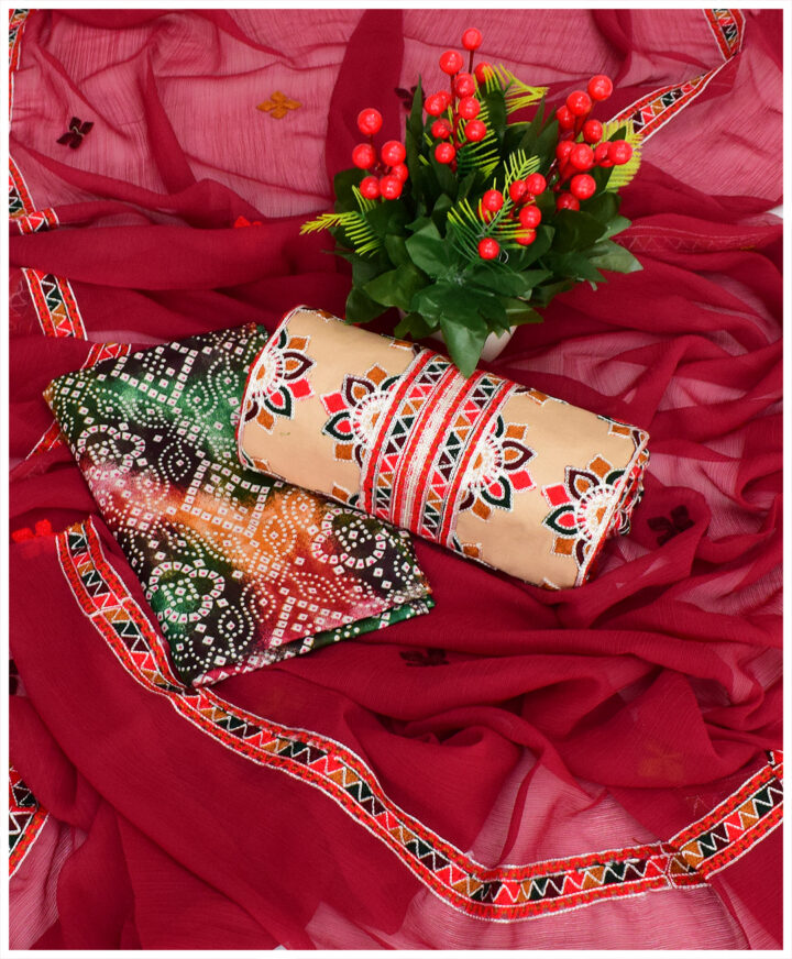 3 PC Machine Embroidered Aari Work Lawn Suit with Chiffon Dupatta
