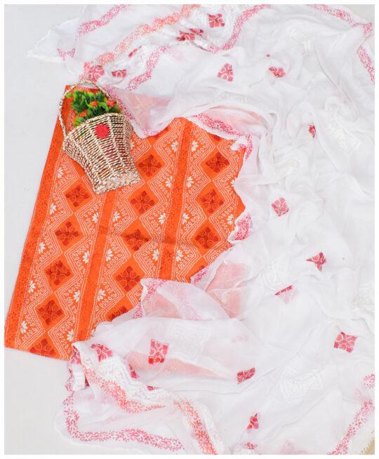 2 PCs Rahat Lawn Un-Stitched Chikankaari Shirt & Chiffon Dupatta-4