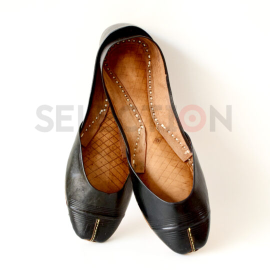 Selection Pure Leather Black Hand Made Multani Khussa With Leather Sole