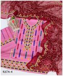 3 PC Lawn Unstitched Machine Embroidered Aari Work Suit With Full Jaal Chiffon Dupatta - K67A4