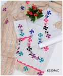 3 PC Khadi Cotton Handmade Applique Work Suit A+ Quality KS2096C