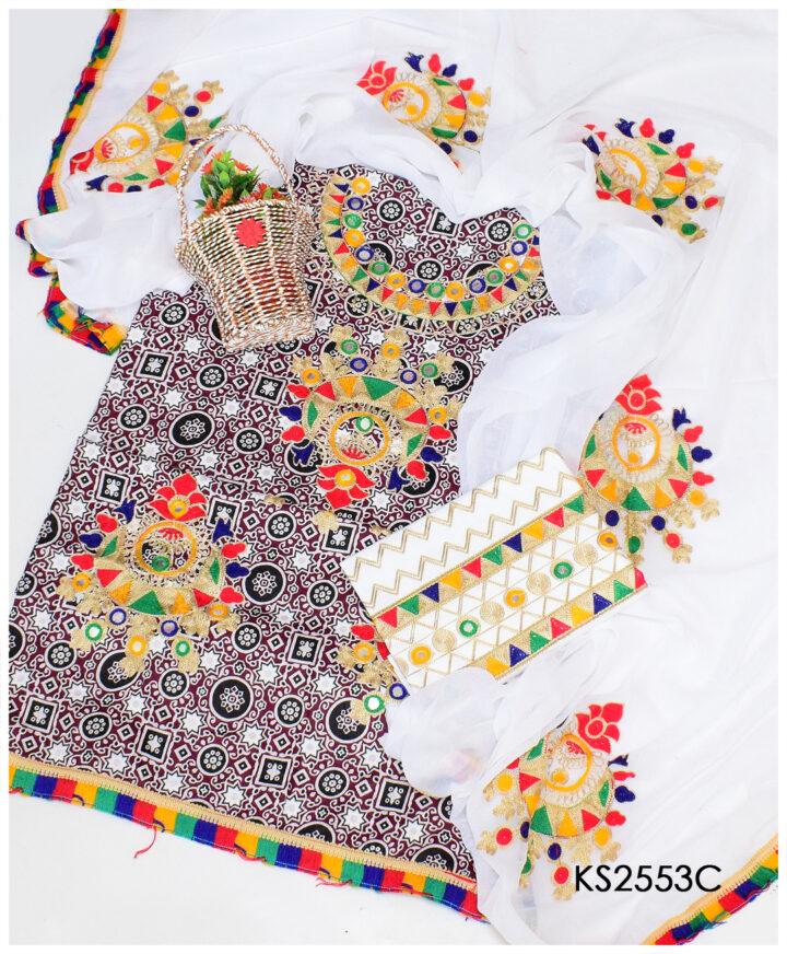 3 PC Lawn Un-Stitched Grey Ajrak Aari Embroidery Suits With Chiffon Dupatta - KS2553C