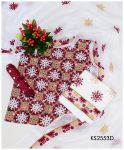 3 PC Un-Stitched Lawn Ajrak Aari Scrolling Embroidery Suits With Chiffon Dupatta - KS2553D