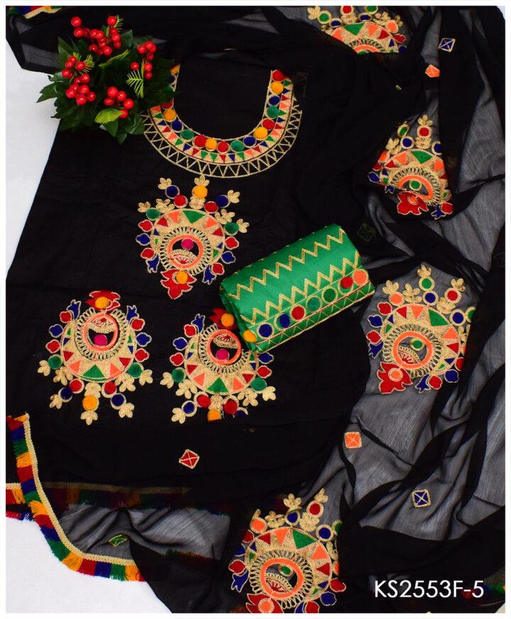 3 PC Un-Stitched Black Lawn Aari Embroidery Dress With Chiffon Dupatta - KS2553F5