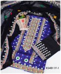 3 PC UN-Stitched Blue Ajrak Aari Embroidery Suit With Chiffon Dupatta - KS4811F