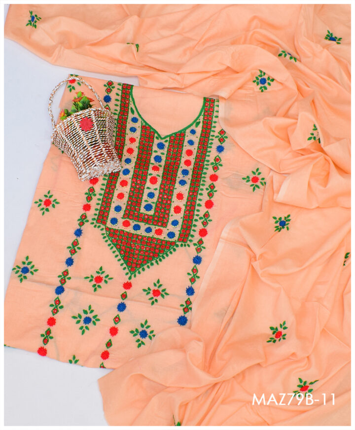3 Pc Lawn Hand Embroidered Makri Work Suit With Lawn Dupatta - MAZ79B11