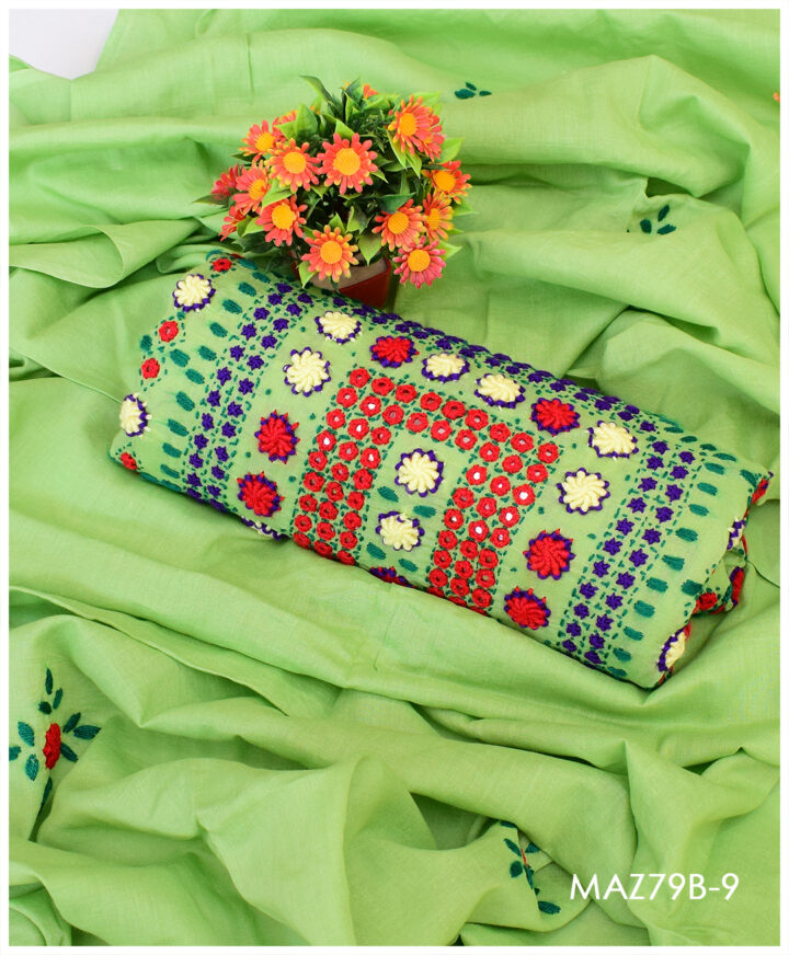 3 Pc Lawn Hand Embroidered Makri Work Suit With Lawn Dupatta - MAZ79B