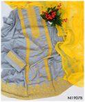 3 PC Lawn Grey Un-Stitched Computer Cross Stitch Yellow Embroidery Dress With Chiffon Dupatta - NI1907B