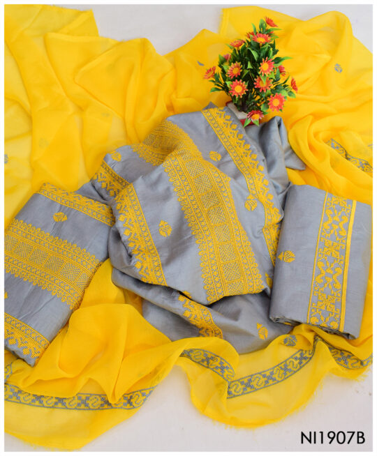 3 PC Lawn Grey Un-Stitched Computer Cross Stitch Yellow Embroidery Dress With Chiffon Dupatta - NI1907B