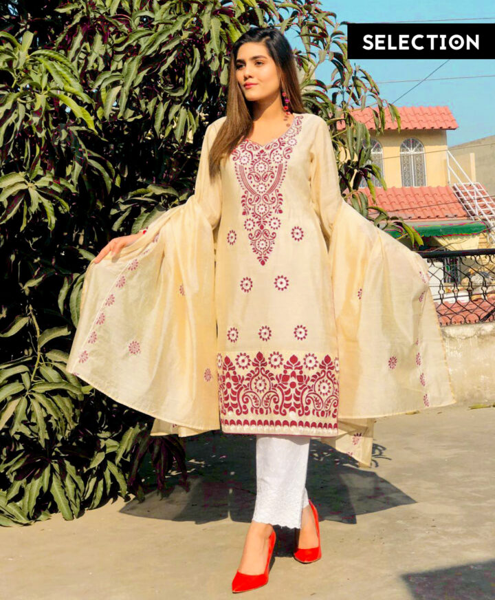 3 PC Paper Cotton Un-Stitched Aari Work Suit With Paper Cotton Dupatta - NISPC