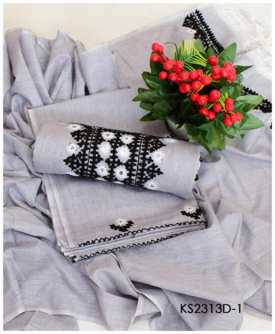 3 PCs Khadi Cotton Sindhi Work Suits With Khadi Dupatta – KS2313D
