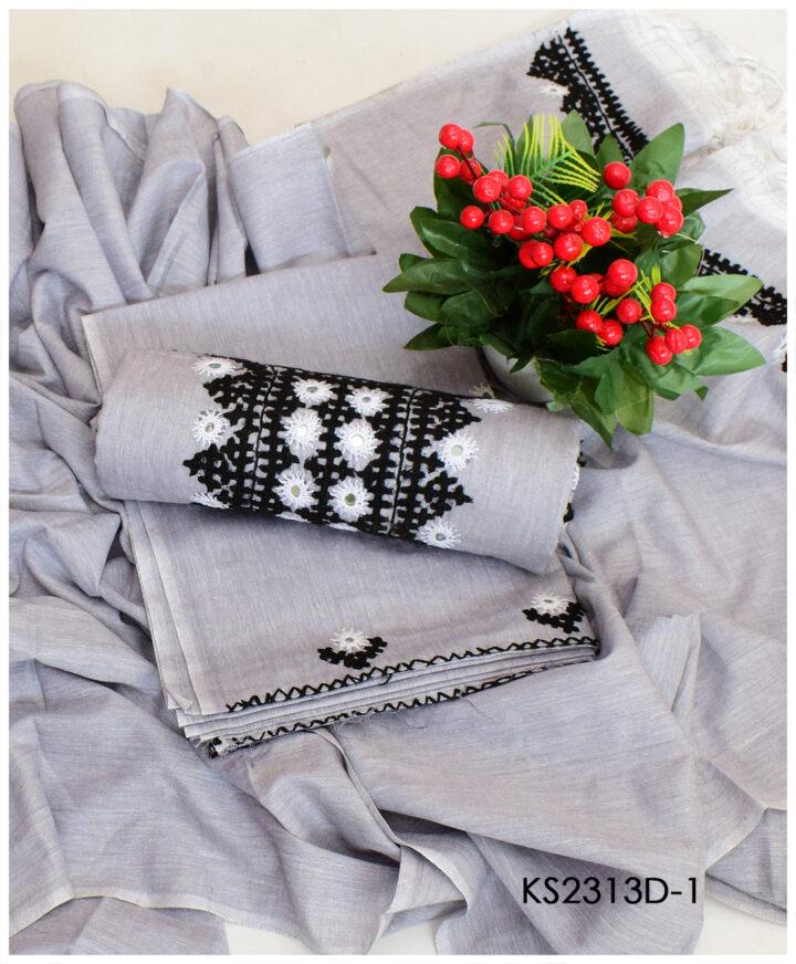 3 PCs Khadi Cotton Sindhi Work Suits With Khadi Dupatta - KS2313D