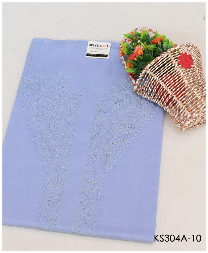 Un-Stitched Neck Embroidery Gents Soft Cotton Shalwar Kameez Suits