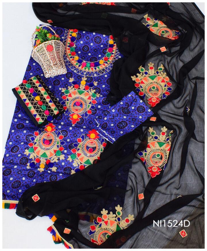 3 PC Lawn Un-Stitched Ajrak Aari Embroidery Dress With Chiffon Dupatta - NI1524D