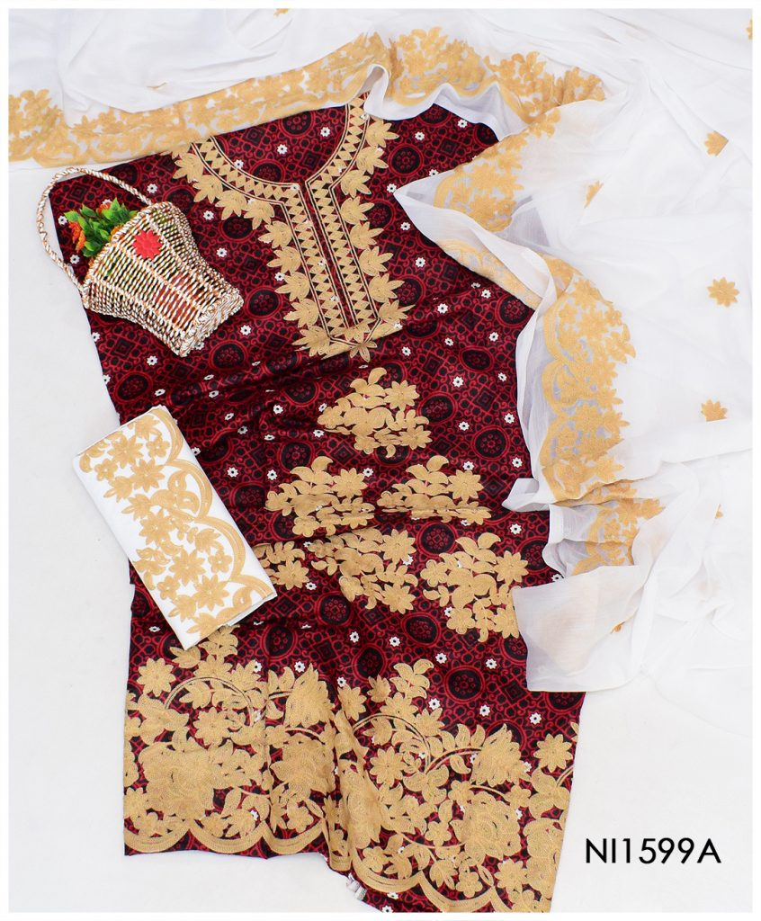 Fancy Ajrak Aari Work Un-Stitched 3 PCs Suits With Chiffon Dupatta - NI1599A
