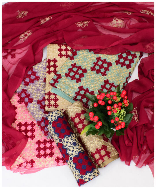 3 PCs Un-Stitched Cotton Lawn Aari Jaal Work Suits With Chiffon Dupatta – NI1599B