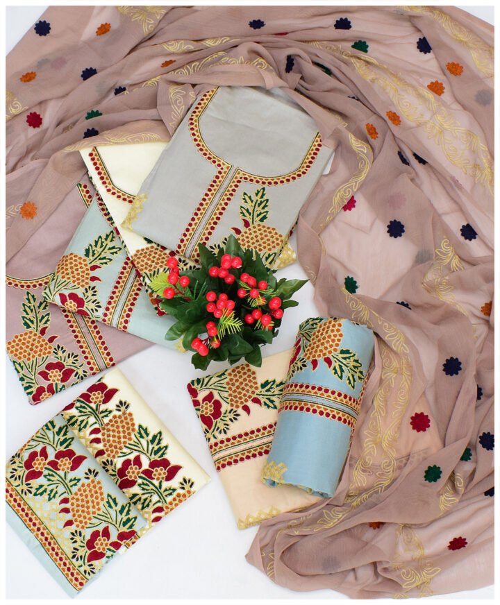 3 PCs Un-Stitched Cotton Lawn Aari Embroidery Suits With Chiffon Dupatta - NI1599C
