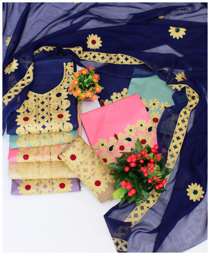 3 PCs Un-Stitched Embroidery Suits With Chiffon Dupatta - NI1599D