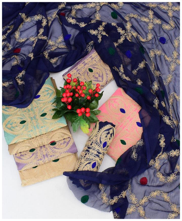 3 PCs Lawn Un-Stitched Aari Embroidered Dress With Chiffon Dupatta - NI1599F