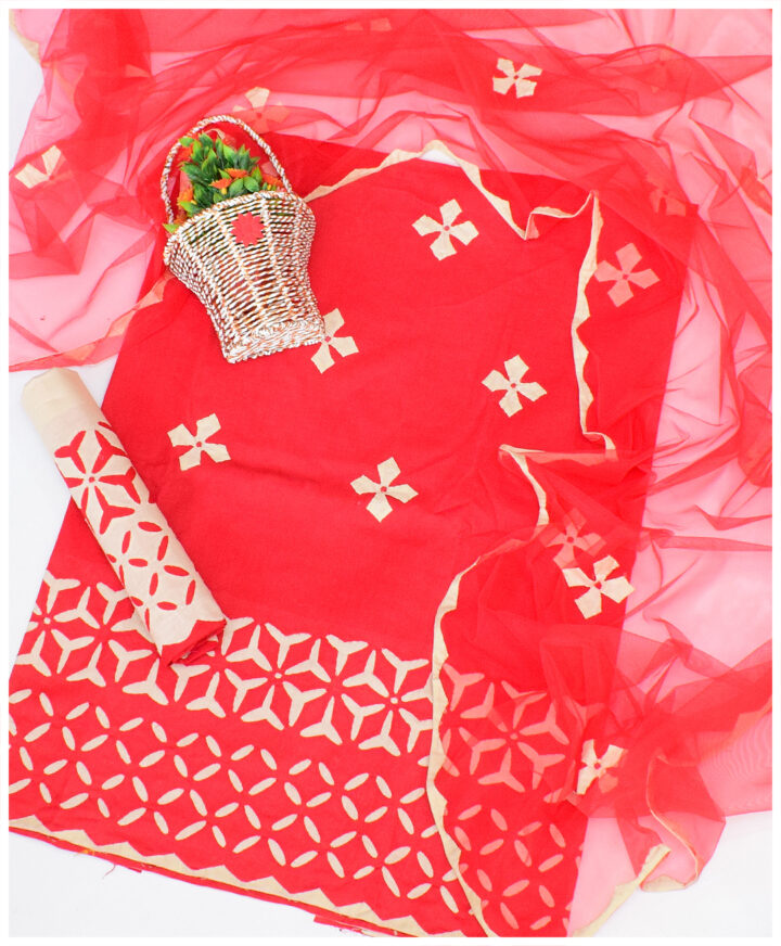 3 PSc Un-Stitched Lawn Applique Work Dress With Net Dupatta - NI15A1