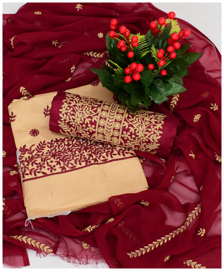Fancy Lawn 3 PCs Un-Stitched Embroidered Dress With Chiffon Dupatta - NI15C