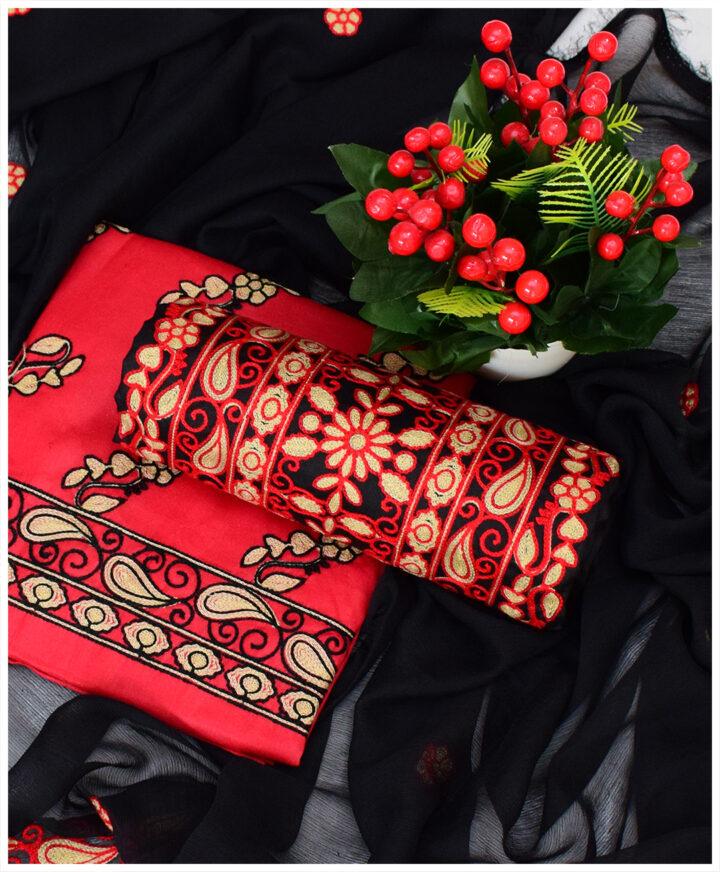 2 PCs Lawn Un-Stitched Embroidery Suits With Chiffon Dupatta - NI15F