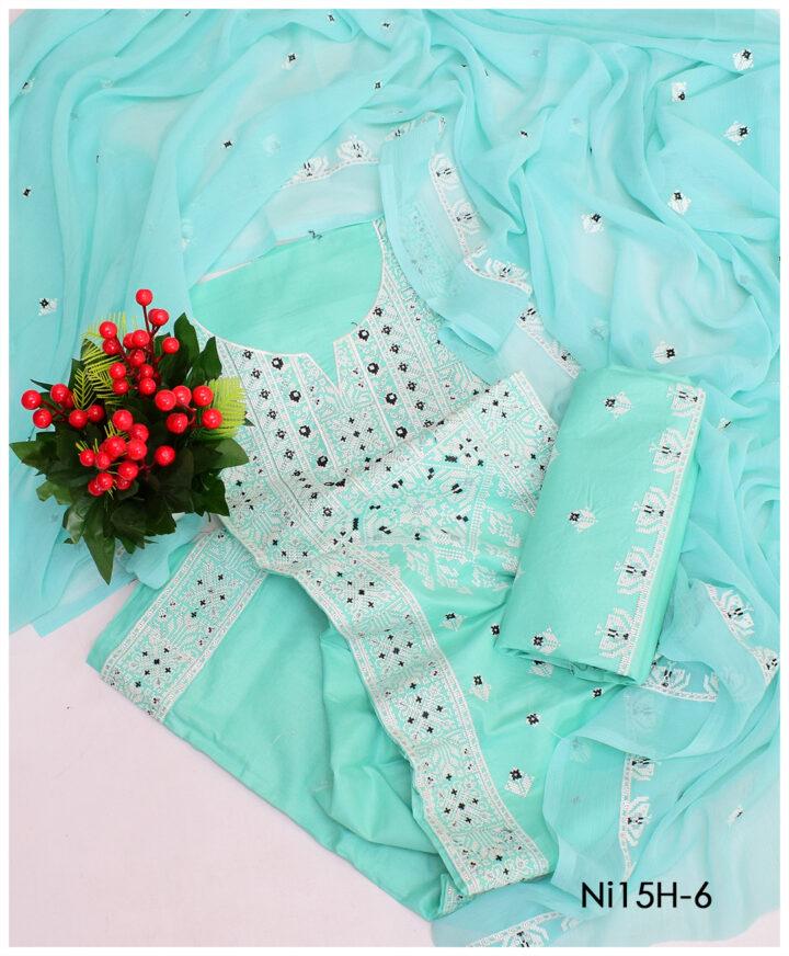 3 PCs Lawn Cross-Stitch Un-Stitched Suits With Chiffon Dupatta - NI15H