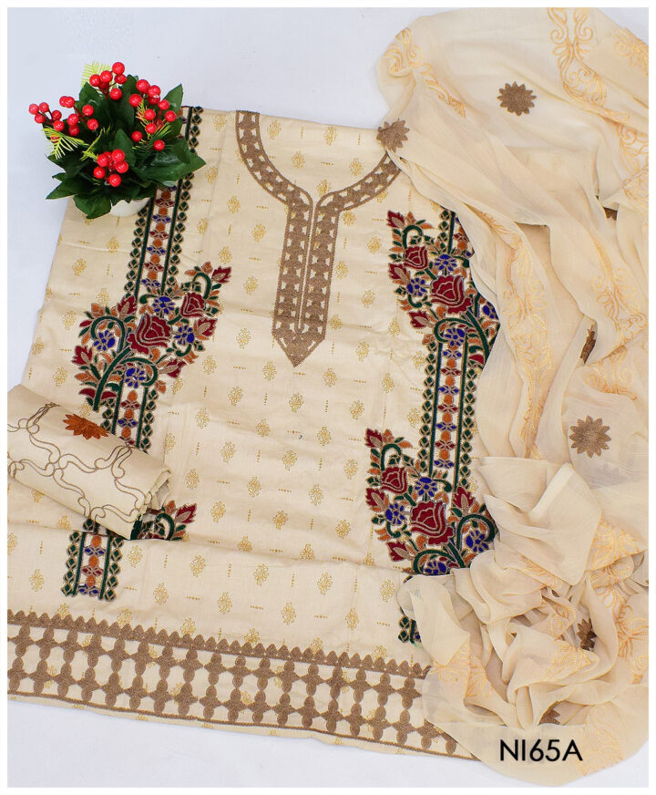 3 PCs Un-Stitched Printed Lawn Embroidery Suits With Chiffon Dupatta - NI65A