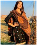 3 Pc Un-Stitched Lawn Hand Embroidered Aari Work With Pom Pom and China Mirror Suits With Lawn Dupatta -NIPP