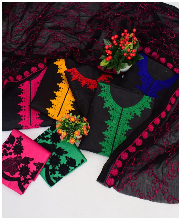 3 PCs Aari Embroidery Lawn Suits With Chiffon Dupatta - QA28E