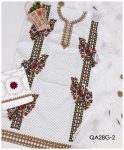 3 PCs Self Printed Aari Work Embroidery Suits With Chiffon Dupatta - QA28G