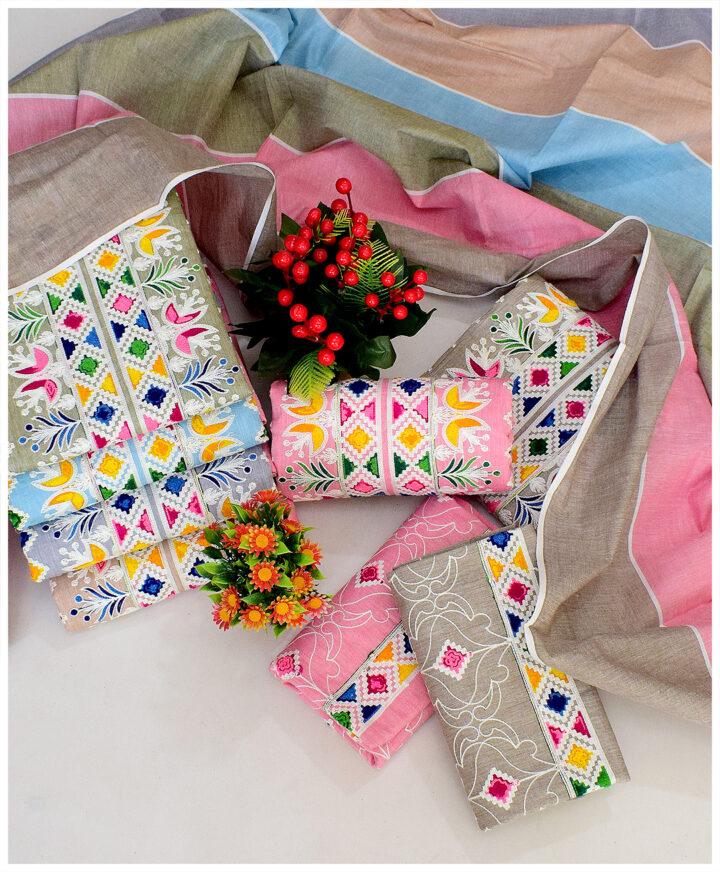 3 PCs Cotton Khaddar Summer Un-Stitched Dresses For Women - QA28J