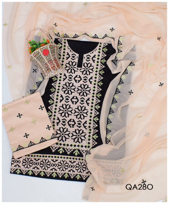 3 PCs Cotton Lawn Computer Applique Work Suits With Chiffon Dupatta - QA28O