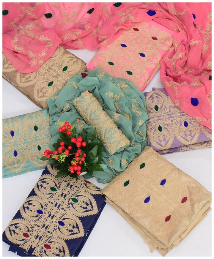 Un-Stitched Lawn 3 PCs Aari Embroidery Suits With Chiffon Dupatta - QA28P