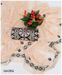 Beautifull 3 PCs Un-Stitched Computer Applique Panel Suits With Chiffon Dupatta - QA28Q
