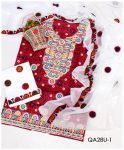 Lawn Ajrak 3 PC Embroidered Suit With Chiffon Dupatta - QA28U1