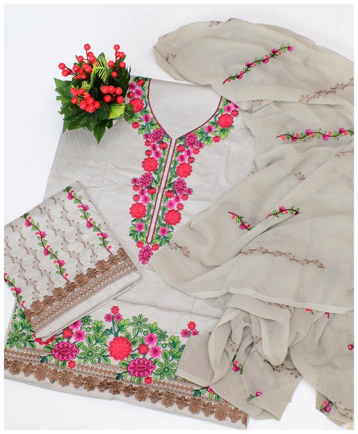 3 PCs Un-Stitched Lawn Aari Work Embroidery Fancy Suits With Chiffon Dupatta - QA304B6