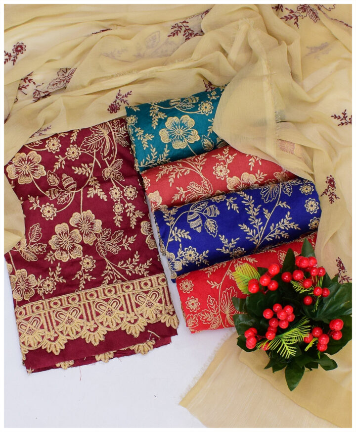 3 PCs Lawn Machine Embroidery Jaal Work with Bottom Lace Style Un-Stitched Suit With Chiffon Dupatta - QA304C