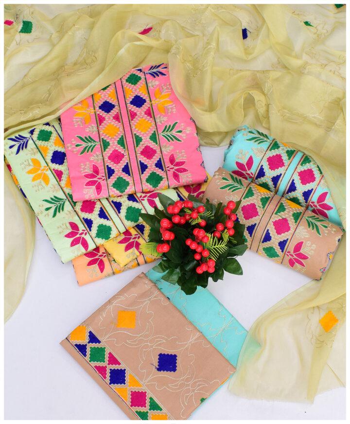 3 PCs Lawn Aari Work Un-Stitched Dress With Chiffon Dupatta - QA304E
