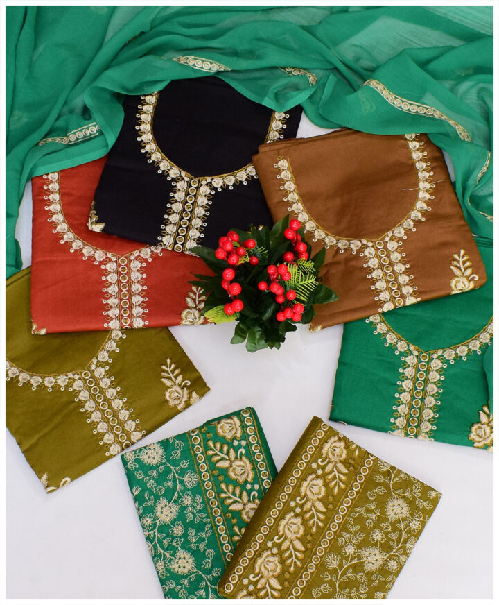 3 PCs Lawn Aari Work Embroidery Un-Stitched Suits With Chiffon Dupatta - QA304F