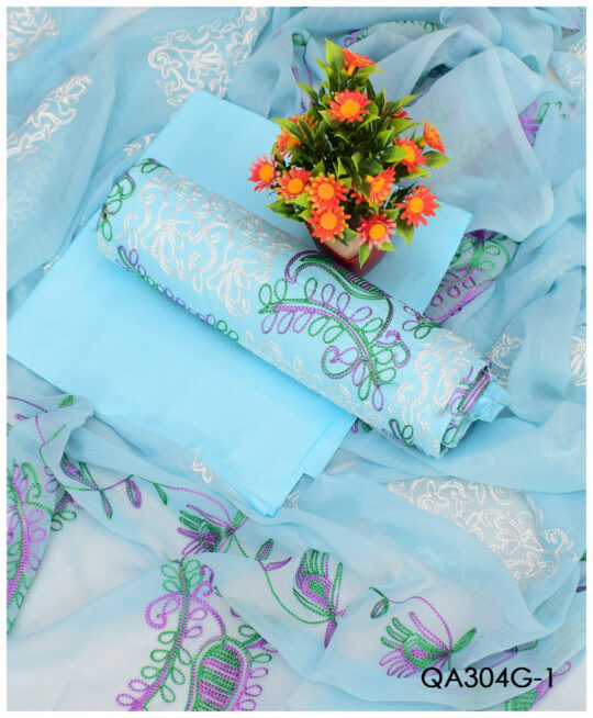 3 PCs Un-Stitched Lawn Machine Embroidery Jaal Work With Chiffon Dupatta – QA304G