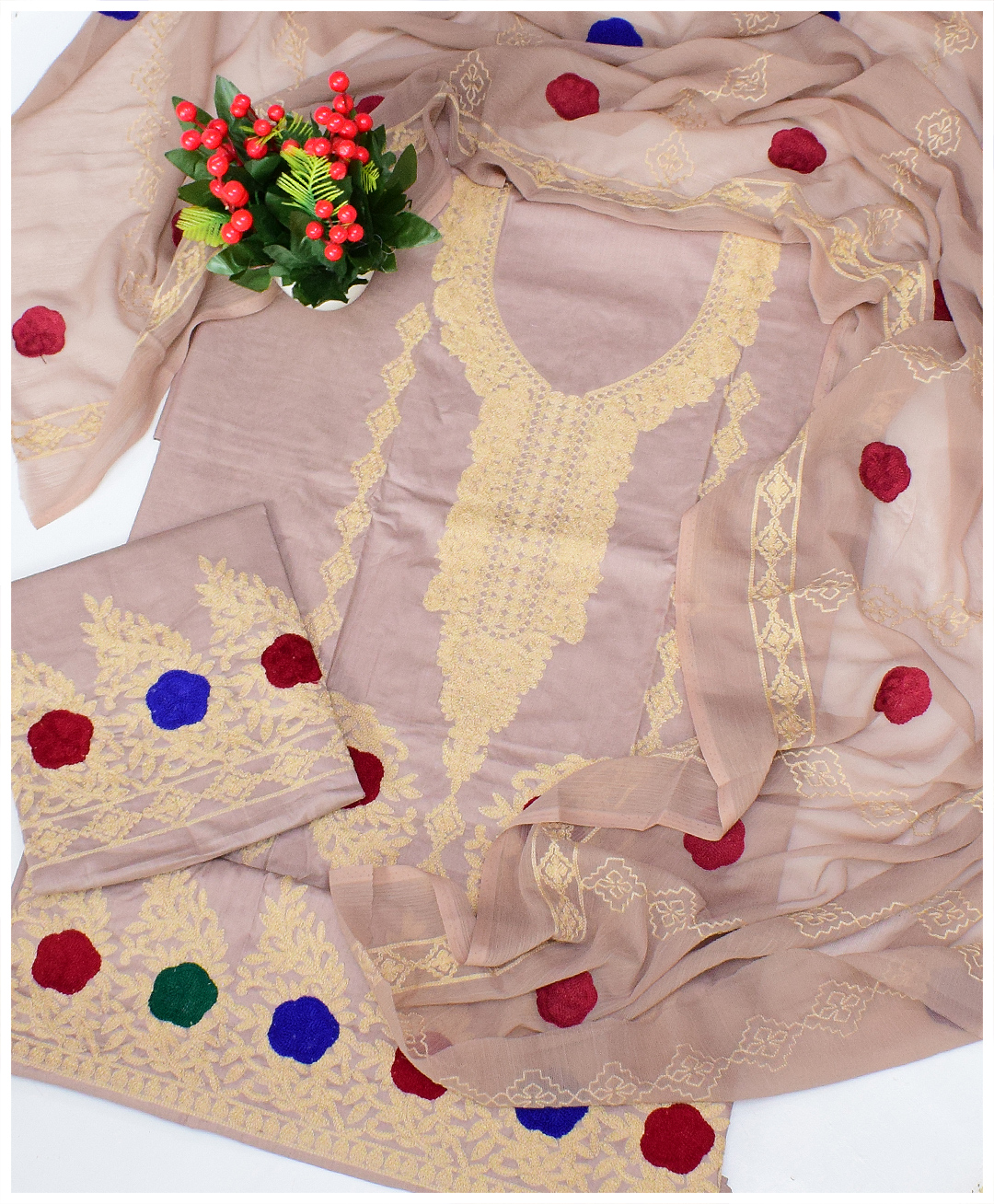 3 PCs Un-Stitched Lawn Skin Aari Work Embroidery Fancy Suits With Chiffon Dupatta - QA304H3