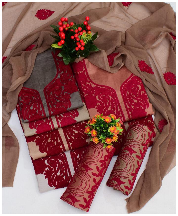 3 PCs Premium Lawn Aari Work Un-Stitched Suits With Chiffon Dupatta - QA304J