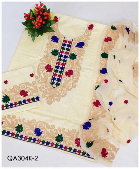 3 PCs Premium Lawn Aari Work Un-Stitched Dress With Chiffon Dupatta – QA304K2