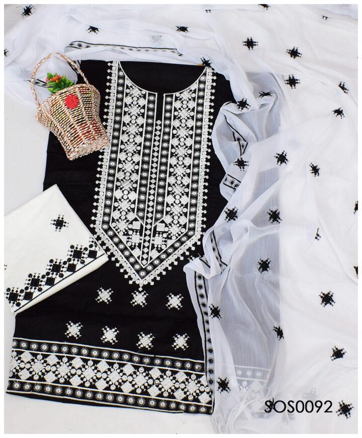 Beautifully Embroidered Lawn 3 PCs Un-Stitched Dress With Chiffon Dupatta - SOS0092