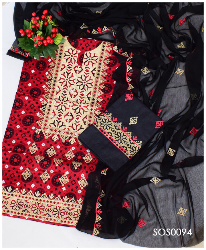 Ajrak Lawn Computer Applique 3 PCs Un-Stitched Dress With Chiffon Dupatta - SOS0094