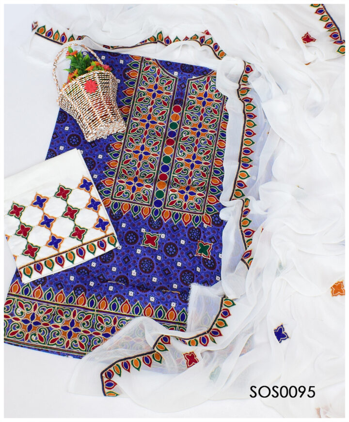 3 PCs Blue Ajrak Lawn Embroidered Dress With Chiffon Dupatta - SOS0095
